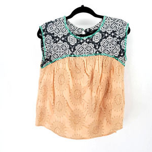 THML Embroidered Blouse Boho Peasant top Geometric